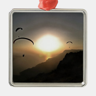 Paragliders Flying Without Wings Metal Ornament