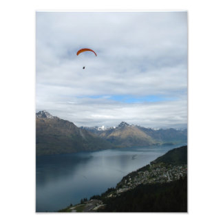 Paragliding above Queenstown, New Zealand Photo Print