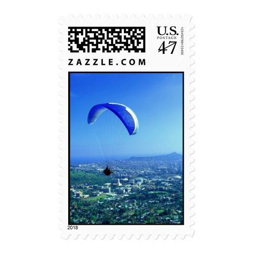 Paragliding over Honolulu Postage