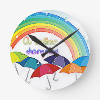 paragua el | lluvia de colores de los arcoiris y reloj de pared