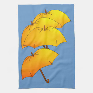 Paraguas amarillo flotante toallas de cocina