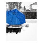 Paraguas azul membrete a diseño