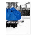 Paraguas azul tarjeta postal