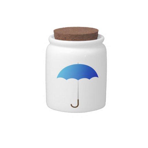 Paraguas azul tarro de cerámica para dulces