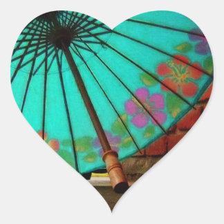 Paraguas chino azul pegatinas corazon