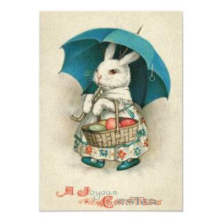 """Paraguas coloreado cesta del huevo del conejito de invitación 5"""" x 7"""""""