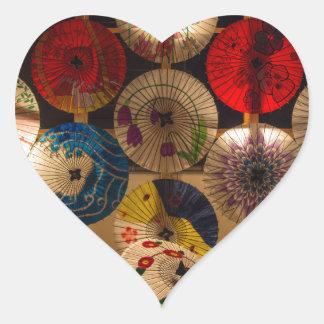 paraguas coloridos pegatina en forma de corazón