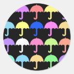 Paraguas coloridos pegatina redonda