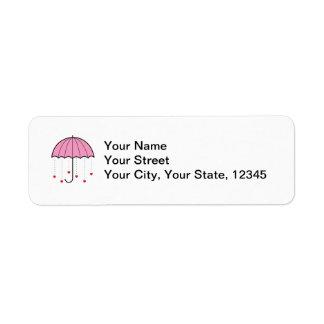 Paraguas con los corazones (rosa) etiquetas de remite