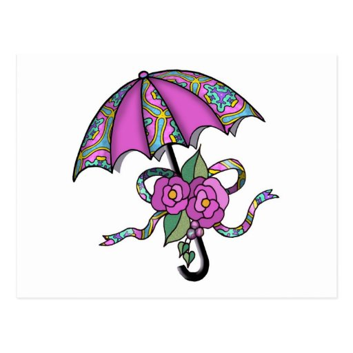 Paraguas con los rosas 02 tarjeta postal