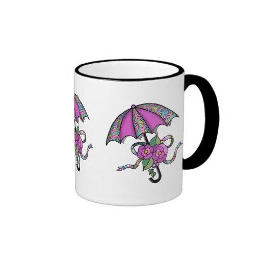 Paraguas con los rosas 02 taza a dos colores