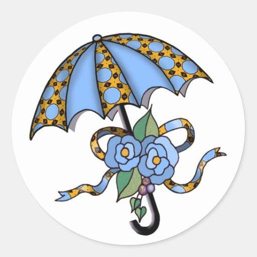 Paraguas con los rosas 03 pegatina redonda
