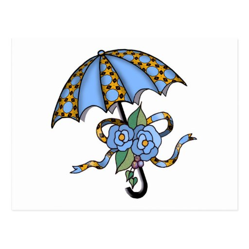 Paraguas con los rosas 03 tarjeta postal