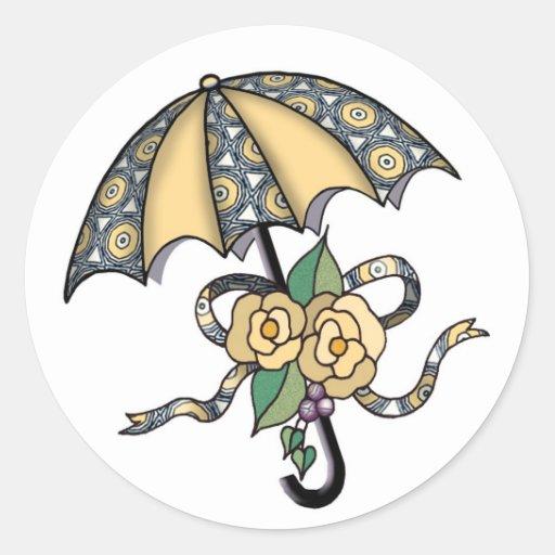 Paraguas con los rosas 04 pegatinas redondas