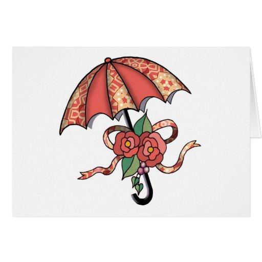 Paraguas con los rosas 08 tarjeta de felicitación