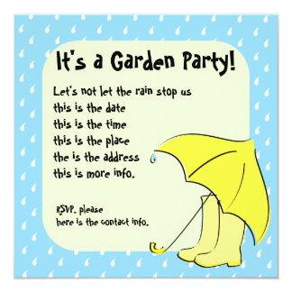 Paraguas de la lluvia invitación 13,3 cm x 13,3cm
