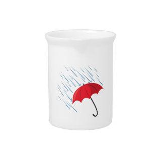 Paraguas de la lluvia jarra de beber