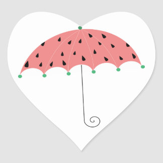 Paraguas de la primavera de la sandía calcomanías corazones