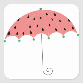 Paraguas de la primavera de la sandía pegatina cuadrada