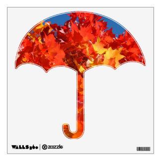 Paraguas de las hojas de otoño de las etiquetas de vinilo
