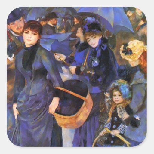 Paraguas de Pedro-Auguste Renoir- Pegatina Cuadrada