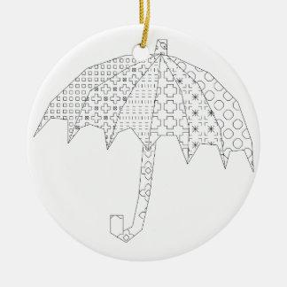 paraguas del blackwork adorno navideño redondo de cerámica