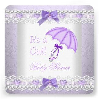 Paraguas del blanco de la lavanda de la niña de la invitaciones personales