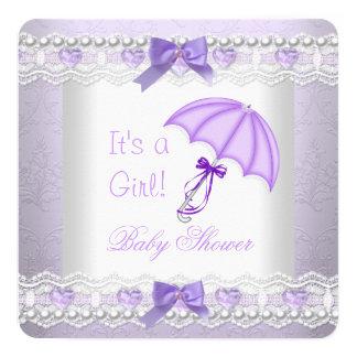"""Paraguas del blanco de la lavanda de la niña de la invitación 5.25"""" x 5.25"""""""
