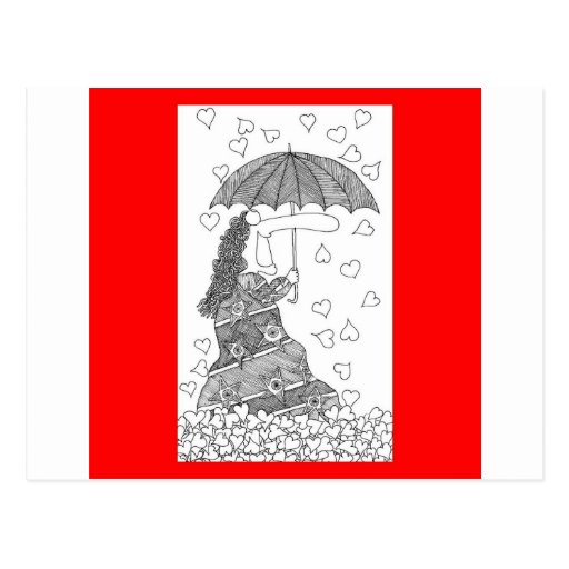 paraguas del corazón postal