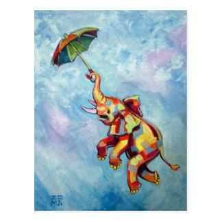 Paraguas del elefante postales