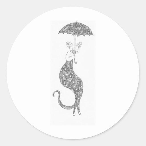 paraguas del gato pegatina redonda