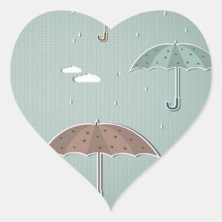 Paraguas del otoño pegatina de corazón