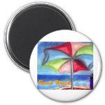 Paraguas del reloj de la playa imán de frigorifico