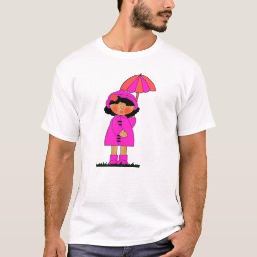 Paraguas del rosa de la niña de los chicas del playera