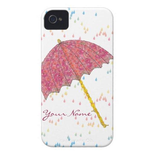 Paraguas del rosa del arte de la comida iPhone 4 Case-Mate fundas