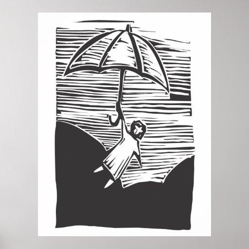 Paraguas del vuelo póster