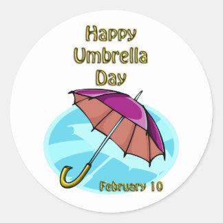 Paraguas día 10 de febrero feliz pegatina redonda