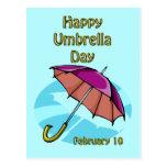 Paraguas día 10 de febrero feliz postal