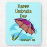 Paraguas día 10 de febrero feliz alfombrilla de ratón