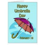 Paraguas día 10 de febrero feliz tarjeta de felicitación