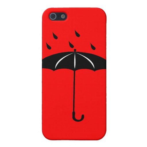 Paraguas - el llover de las gotas de lluvia iPhone 5 protectores