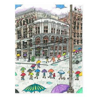 Paraguas en el cuadrado pionero postales