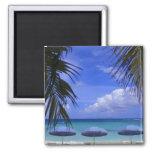 paraguas en la playa, St. Maarten, del Caribe Imán Cuadrado