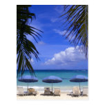 paraguas en la playa, St. Maarten, del Caribe Tarjeta Postal