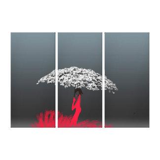 Paraguas floral impresión en lienzo estirada