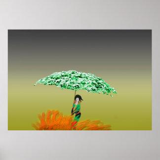 Paraguas floral posters