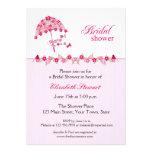 Paraguas floral rosado, invitación nupcial de la d