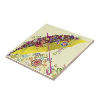 Paraguas hermoso de la flor y del pájaro/parasol tejas  cerámicas