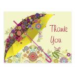 Paraguas hermoso de la flor y del pájaro/parasol tarjetas postales