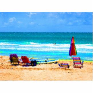 paraguas painterly de las tablas hawaianas de las escultura fotografica